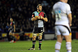 Chris Robshaw of Harlequins calls for a scrum during a break in play - Photo mandatory by-line: Patrick Khachfe/JMP - Mobile: 07966 386802 17/01/2015 - SPORT - RUGBY UNION - London - The Twickenham Stoop - Harlequins v Wasps - European Rugby Champions Cup