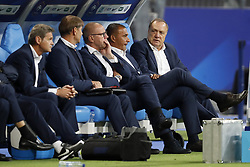 (L-R) doctor Edwin Goedhart of Holland, goalkeeper trainer Frans Hoek of Holland, assistant trainer Fred Grim of Holland, assistant trainer Ruud Gullit of Holland, coach Dick Advocaat of Holland during the FIFA World Cup 2018 qualifying match between France and Netherlands on August 31, 2017 at Stade de France in Saint Denis,  France