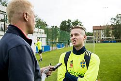 June 6, 2017 - Helsingborg, SVERIGE - 170606 Adam Lundqvist intervjuas efter en träning med U21-landslaget i fotboll den 6 juni 2017 i Helsingborg  (Credit Image: © Ludvig Thunman/Bildbyran via ZUMA Wire)