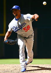 May 3, 2018 - Phoenix, AZ, U.S. - PHOENIX, AZ - MAY 03: Los Angeles Dodgers relief pitcher Edward Paredes (58) pitches during the MLB baseball game between the Arizona Diamondbacks and the Los Angeles Dodgers on May 3, 2018 at Chase Field in Phoenix, AZ (Photo by Adam Bow/Icon Sportswire) (Credit Image: © Adam Bow/Icon SMI via ZUMA Press)