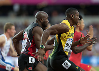 Athletics - 2017 IAAF London World Athletics Championships - Day One<br /> <br /> Event: Men's 100 Metres Qualifying <br /> <br /> Yohan Blake (JAM) leads the field away <br /> <br /> <br /> COLORSPORT/DANIEL BEARHAM
