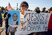 19 JANUARY 2009 -- PHOENIX, AZ: SELINA KING from Phoenix marches in the Phoenix Martin Luther Jr. Day march. About 500 people marched three miles through Phoenix, Monday Jan. 19, in memory of Dr. Martin Luther King Jr. This year the march also marked Jan 20 inauguration of Barack Obama as the US President.  PHOTO BY JACK KURTZ