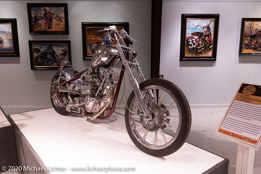 Dan Carr's (Bacon's) Poolside Shovelhead Chopper that he describes the style as Super fast light weight chopper, in the Heavy Mettle - Motorcycles and Art with Moxie exhibition at the Sturgis Buffalo Chip. This is the 2020 iteration of the annual Motorcycles as Art series curated and produced by Michael Lichter. Sturgis, SD, USA. Friday, August 7, 2020. Photography ©2020 Michael Lichter.