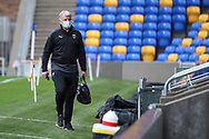 AFC Wimbledon manager Glyn Hodges arriving for the game wearing face mask during the EFL Sky Bet League 1 match between AFC Wimbledon and Milton Keynes Dons at Plough Lane, London, United Kingdom on 30 January 2021.