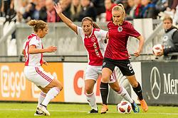 (L-R) Soraya Verhoeve of Ajax women, Vanity Lewerissa of Ajax women, Pavlína Nepokojová of AC Sparta Praha women during the UEFA Women's Champions League match between Ajax Amsterdam and Sparta Praag at Sportpark De Toekomst on September 12, 2018 in Amsterdam, The Netherlands