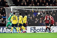 Goal - Bukayo Saka (69) of Arsenal scores a goal beating Mark Travers (42) of AFC Bournemouth to give a 0-1 during the The FA Cup match between Bournemouth and Arsenal at the Vitality Stadium, Bournemouth, England on 27 January 2020.
