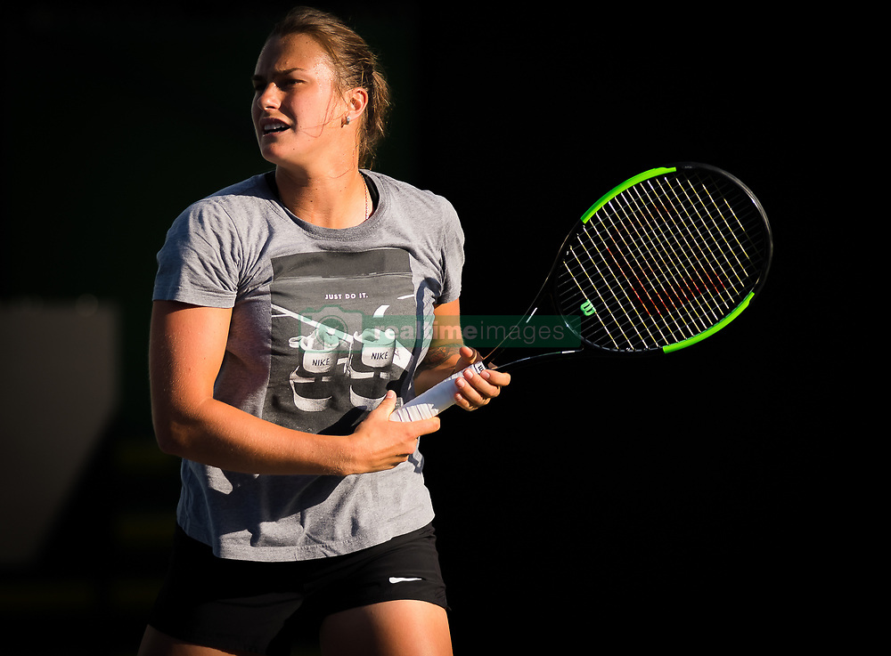 March 15, 2019 - Indian Wells, USA - Aryna Sabalenka of Belarus during practice at the 2019 BNP Paribas Open WTA Premier Mandatory tennis tournament (Credit Image: © AFP7 via ZUMA Wire)