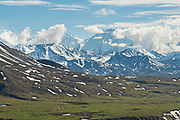 View of the the Alaska Range, Denali and the McKinley River from the Eielson Bluffs in Denali National Park Alaska. Denali National Park and Preserve encompasses 6 million acres of Alaska's interior wilderness.