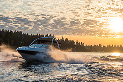 United States, Washington, Bellevue. Motor boat in sunset on Lake Washington.