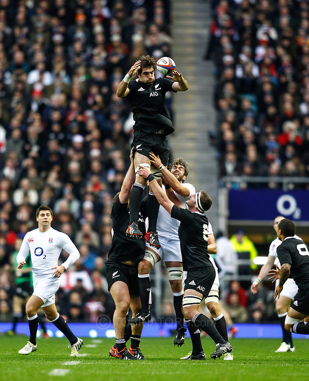 Picture by Andrew Tobin/SLIK images +44 7710 761829. 2nd December 2012. Sam Whitelock (top) winds the ball in a lineout during the QBE Internationals match between England and the New Zealand All Blacks at Twickenham Stadium, London, England. England won the game 38-21.