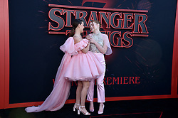 """Millie Bobby Brown and Sadie Sink attend the premiere of Netflix's """"Stranger Things"""" Season 3 on June 28, 2019 in Santa Monica, CA, USA. Photo by Lionel Hahn/ABACAPRESS.COM"""
