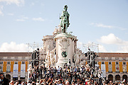 Journalists during the mass celebrated by Pope Benedict XVI for thousands of people on the most important square in the country. The pope is on a four-day visit to Portugal, one of the countries with the highest percentage of Catholics in Europe, Lisbon, Portugal.