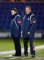 Danny Wilson Manager of Swindon Town with his asst Manager.  Colchester United v Swindon Town at  Weston Homes Community Stadium Colchester Coca-Cola Div 1<br /> 10/03/2009. Credit Colorsport  / Kieran Galvin