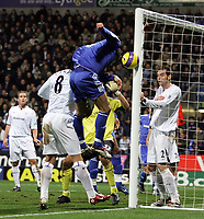 Photo: Paul Thomas.<br /> Bolton Wanderers v Chelsea. The Barclays Premiership. 29/11/2006.<br /> <br /> Ricardo Carvalho (BLue) of Chelsea almost scores with a header, but he hits the bar.