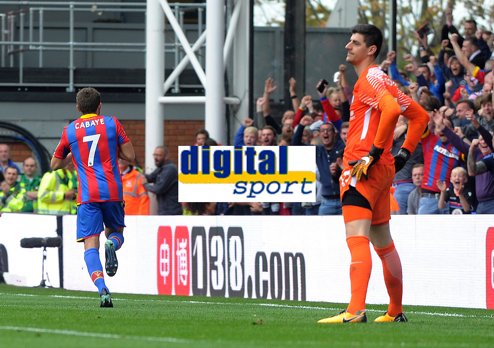 Football - 2017 / 2018 Premier League - Crystal Palace vs. Chsela<br /> <br /> A dejected Thibaut Courtois of Chelsea can only watch after Yohan Cabaye scored Crystal Palace's first Premier League goal of the season at Selhurst Park.<br /> <br /> COLORSPORT/ANDREW COWIE
