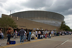 28th August, 2005. Hurricane Katrina, New Orleans, Louisiana. Thousands of people queue to get into the Superdrome for shelter.