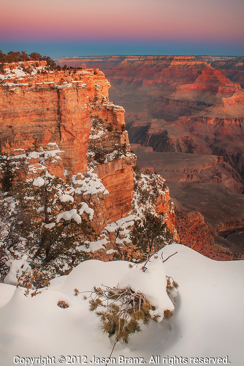 Winter dawn at Grand Canyon National Park, Arizona.