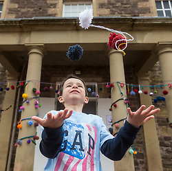 [Insert Detail] during the Scotland-wide World Heritage Day festivities. Six unique events, coordinated by Dig It! 2017, celebrated Scotland's six World Heritage Sites as part of the 2017 Year of History, Heritage and Archaeology. <br /> <br /> Pictured: Will Doherty (6) outside the New Lanark Institute
