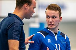 Trainer Coach Paul van der Ven of Sliedrecht, Mart de Groot #11 of Sliedrecht Sport in action in the second round between Sliedrecht Sport and Draisma Dynamo on February 29, 2020 in sports hall de Basis, Sliedrecht