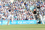 Mark Wood of England is out caught by Mitchell Starc of Australia bowled Mitchell Johnson of Australia for 24 during the 3rd day of the Investec Ashes Test match between England and Australia at the Oval, London, United Kingdom on 22 August 2015. Photo by Phil Duncan.
