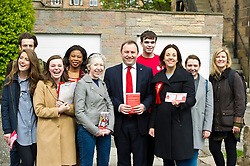 Pictured: Ian Murray and Kezia Dugdale in the traditional group shot<br /> <br /> Scottish Labour's Ian Murray and Scottish Labour leader Kezia Dugdale hit the general election campaign trail in Edinburgh today for the first campaign event of Mr Murray's re-election campaign for the Edinburgh South constituency.<br /> Ger Harley   EEm 21 April 2017