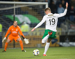 Hibernian's Danny Handling shots.<br /> Falkirk 1 v 0 Hibernian, Scottish Championship game played 6/12/2014 at The Falkirk Stadium .