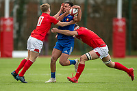 France's Maxime Espeut is tackled by Wales' Evan Lloyd  and Robert Brookson <br /> <br /> Photographer Bob Bradford/CameraSport<br /> <br /> The 2018 U18 6 Nations Festival - Wales U18 v France U18 - Saturday 31st March 2018 - CCB Centre for Sporting Excellence, Ystrad Mynach Hengoed <br /> <br /> World Copyright © 2018 CameraSport. All rights reserved. 43 Linden Ave. Countesthorpe. Leicester. England. LE8 5PG - Tel: +44 (0) 116 277 4147 - admin@camerasport.com - www.camerasport.com