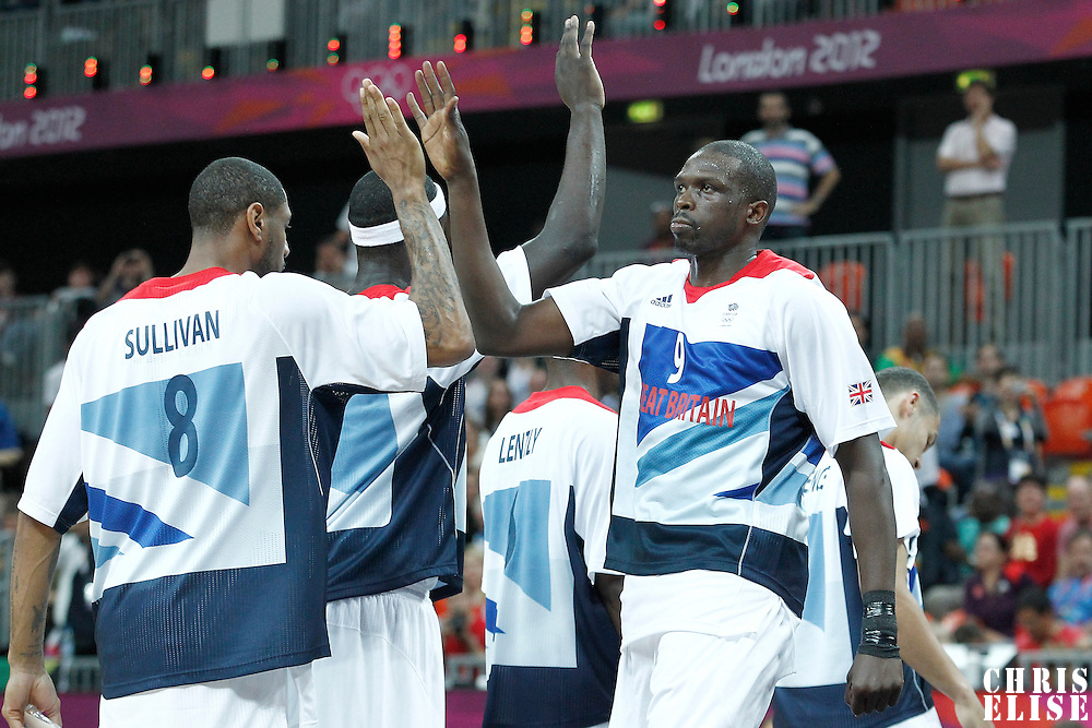 31 July 2012: Great Britain Luol Deng is seen during the players introduction prior to the 67-62 Team Brazil victory over Team Great Britain, during the men's basketball preliminary, at the Basketball Arena, in London, Great Britain.