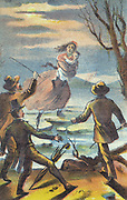 Uncle Tom's Cabin: or, Life Among the Lowly'. Illustration from poster for 1870 theatrical production. Eliza carries son across Ohio river, escaping the slave trader Haley. They are helped to safety in Canada by 'Underground Railroad'.  Harriet Beecher Stowe (1811-1896) published her anti-slavery novel in serial form in 1851-1852 and as a book in 1852. Chromolithograph.
