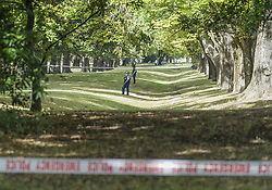 March 16, 2019 - Christchurch, Canterbury, New Zealand - Police patrol in Hagley Park across the street from the Al Noor mosque, where a gunman killed 41 people. (Credit Image: © PJ Heller/ZUMA Wire)
