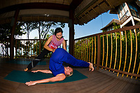Yoga class, Six Senses Spa, Six Senses Hideaway (resort hotel), Koh Samui (island), Gulf of Thailand, Thailand
