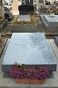 The grave of Irish author Samuel Beckett in Montparnasse Cemetery, Paris (1906-1989)