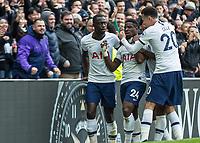Football - 2019 / 2020 Premier League - Tottenham Hotspur vs. Wolverhampton Wanderers<br /> <br /> Serge Aurier (Tottenham FC)  is congratulated by Davinson Sanchez (Tottenham FC)  and Dele Alli (Tottenham FC) after he gives his team 2-1 lead at The Tottenham Hotspur Stadium.<br /> <br /> COLORSPORT/DANIEL BEARHAM