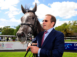 Who's Steph and trainer Ger Lyons after winning the Derrinstown Stud 1,000 Guineas Trial during Derrinstown Stud Derby Trial Day at Leopardstown Racecourse, Dublin.