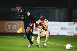 Denzel Dumfries of PSV Eindhoven and Luka Bobičanec of Mura during football match between NS Mura and PSV Eindhoven in Third Round of UEFA Europa League Qualifications, on September 24, 2020 in Stadium Fazanerija, Murska Sobota, Slovenia. Photo by Blaz Weindorfer / Sportida