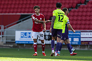 Bristol City's Jamie Paterson (10) who scored the first goal today fist bumps Exeter City's Ryan Bowman (12) at the end of the EFL Cup match between Bristol City and Exeter City at Ashton Gate, Bristol, England on 5 September 2020.