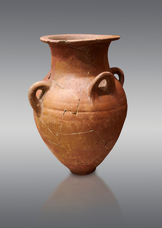 Hittite terra cotta four handled pot. Hittite Empire, Alaca Hoyuk, 1450 - 1200 BC. Alaca Hoyuk. Çorum Archaeological Museum, Corum, Turkey .<br />  <br /> If you prefer to buy from our ALAMY STOCK LIBRARY page at https://www.alamy.com/portfolio/paul-williams-funkystock/hittite-art-antiquities.html  - Type Hattusa into the LOWER SEARCH WITHIN GALLERY box. Refine search by adding background colour, place,etc<br /> <br /> Visit our HITTITE PHOTO COLLECTIONS for more photos to download or buy as wall art prints https://funkystock.photoshelter.com/gallery-collection/The-Hittites-Art-Artefacts-Antiquities-Historic-Sites-Pictures-Images-of/C0000NUBSMhSc3Oo