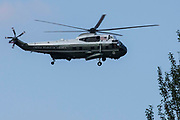 One of President Bidens VH-3D Sea King helicopters, known as Marine One, is pictured landing at Windsor Castle on 13th June 2021 in Windsor, United Kingdom. President Biden and First Lady Jill Biden were welcomed at Windsor Castle by the Queen following the G7 summit with a Guard of Honour followed by afternoon tea.