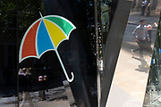 Umbrella logo outside Legal & General offices in the City of London on 11th August 2021 in London, United Kingdom. Legal & General Group plc, commonly known as Legal & General, is a British multinational financial services and asset management company headquartered in London, England. Its products and services include investment management, lifetime mortgages, pensions, annuities, and life assurance.