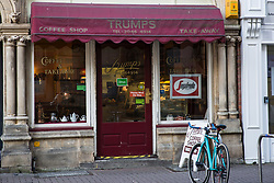 Cardiff, UK. 2nd May, 2017. The popular Trumps Coffee Shop has been run by owners Annette and Nigel Mellings since 1993.