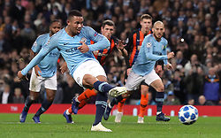 Manchester City's Gabriel Jesus scores his side's second goal of the game from the penalty spot during the UEFA Champions League match at the Etihad Stadium, Manchester.