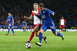 Christian Fuchs of Leicester City takes on James McClean of West Bromwich Albion - Mandatory by-line: Robbie Stephenson/JMP - 16/10/2017 - FOOTBALL - King Power Stadium - Leicester, England - Leicester City v West Bromwich Albion - Premier League