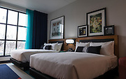 A double room inside Hotel Indigo overlooking Breese Stephens Field in Madison, WI on Wednesday, April 17, 2019.