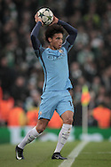 Leroy Sané (Manchester City) takes a throw-in during the Champions League match between Manchester City and Celtic at the Etihad Stadium, Manchester, England on 6 December 2016. Photo by Mark P Doherty.