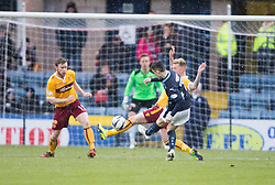 Dundee's Alex Harris scoring their first goal. <br /> half time : Dundee 3 v 1 Motherwell, SPFL Premiership played 10/1/2015 at Dundee's home ground Dens Park.