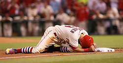 May 20, 2017 - St Louis, MO, USA - St. Louis Cardinals' Matt Carpenter reacts after being thrown out trying to stretch a double into a triple in the bottom of the ninth inning during a game between the St. Louis Cardinals and the San Francisco Giants on Saturday, May 20, 2017, at Busch Stadium in St. Louis. (Credit Image: © Chris Lee/TNS via ZUMA Wire)