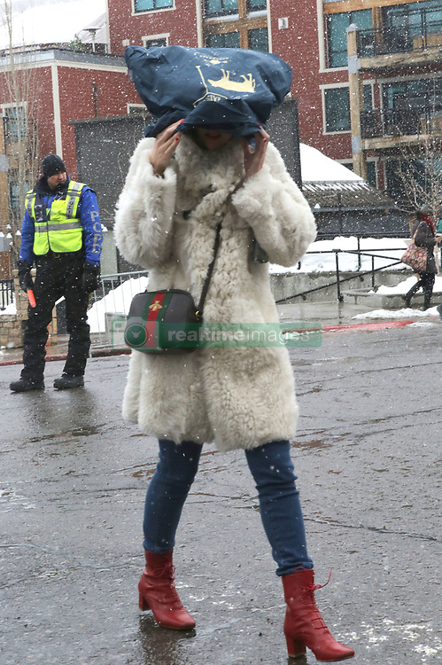 EXCLUSIVE: Michelle Morgan covers up from the snow at Sundance by putting a bag on her head! Michelle braved the snowy Park City conditions to promote her film L.A.Times at the Sundance Film Festival. 20 Jan 2017 Pictured: Michelle Morgan. Photo credit: Atlantic Images / MEGA TheMegaAgency.com +1 888 505 6342