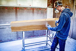 Coffin manufacturing company named Tomba in Gendringen, the Netherlands on April 23, 2020. As a result of the coronavirus, they are busier than usual. Photo by Robin Utrecht/ABACAPRESS.COM
