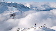 Les Grands Montets cablecar above Argentiere, Savoie, Alps