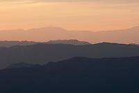 View from Mahogany Flat of Wildrose Canyon, the Panamint Range, and the Sierra Nevada at dusk. Death Valley National Park, California